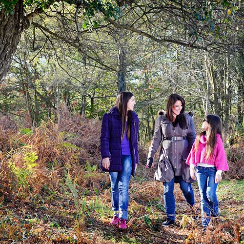 A mother and two daughters walking in a leafy woodland
