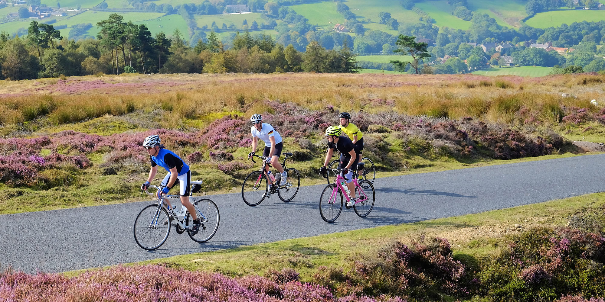 Cyclists on a quite road with heather and grassy fields beyond