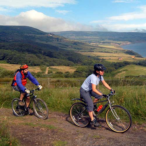 Cyclists with a view over a green valley below