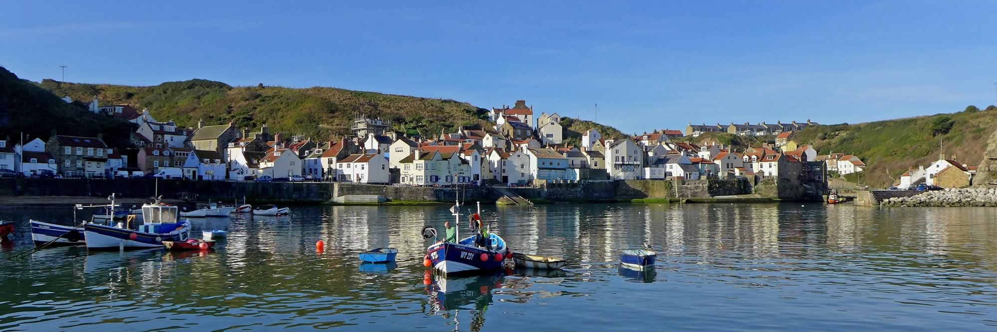 Fishing boats and harbour cottages under a clear blue sky