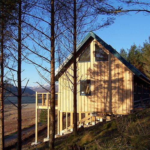 Wooden holiday cottage amongst a lakeside woodland