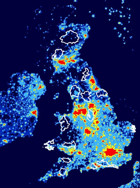 Map of UK showing light pollution