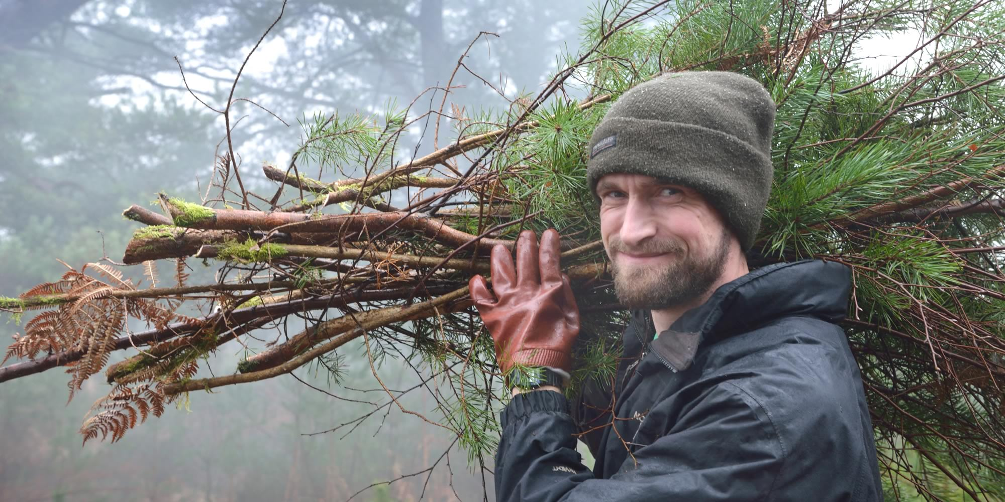 Man holding a large collection of fir tree branches