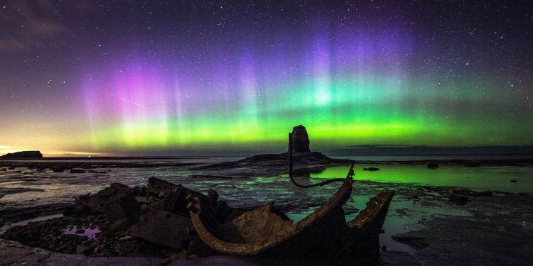 Northern lights over Saltwick Bay